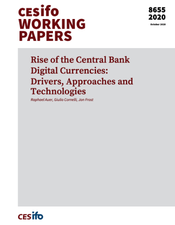 "Auer, Raphael, Giulio Cornelli, and Jon Frost. ""Rise of the central bank digital currencies: drivers, approaches and technologies."" Bank for International Settlements Working Papers 880 (2020): 1-41."