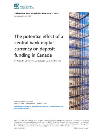 "García, Alejandro, et al. ""The potential effect of a central bank digital currency on deposit funding in Canada."" (2020)."