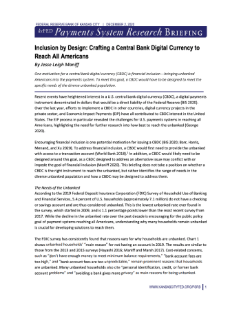 "Maniff, Jesse Leigh. ""Inclusion by Design: Crafting a Central Bank Digital Currency to Reach All Americans."" Payments System Research Briefing (2020): 1-5."