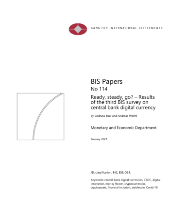 "Boar and Andreas Wehrli. ""Ready, steady, go? – Results of the third BIS survey on central bank digital currency "" BIS Paper 114 (2021)."